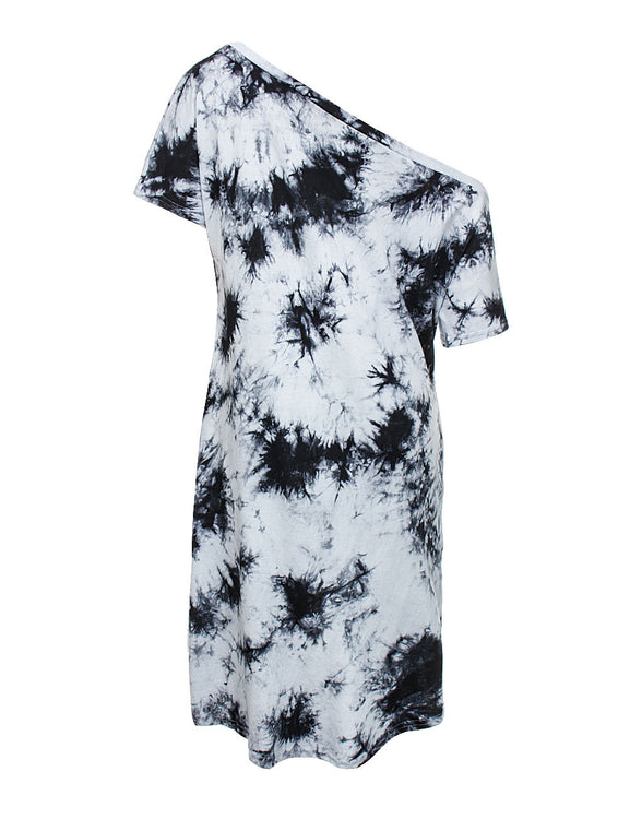 Hot Stuff Random Tie Dye Shift Dress Irregular Hem Best Materials