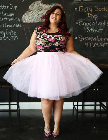 Plus Size Tulle A-Line Knee Length Puffy Skirt
