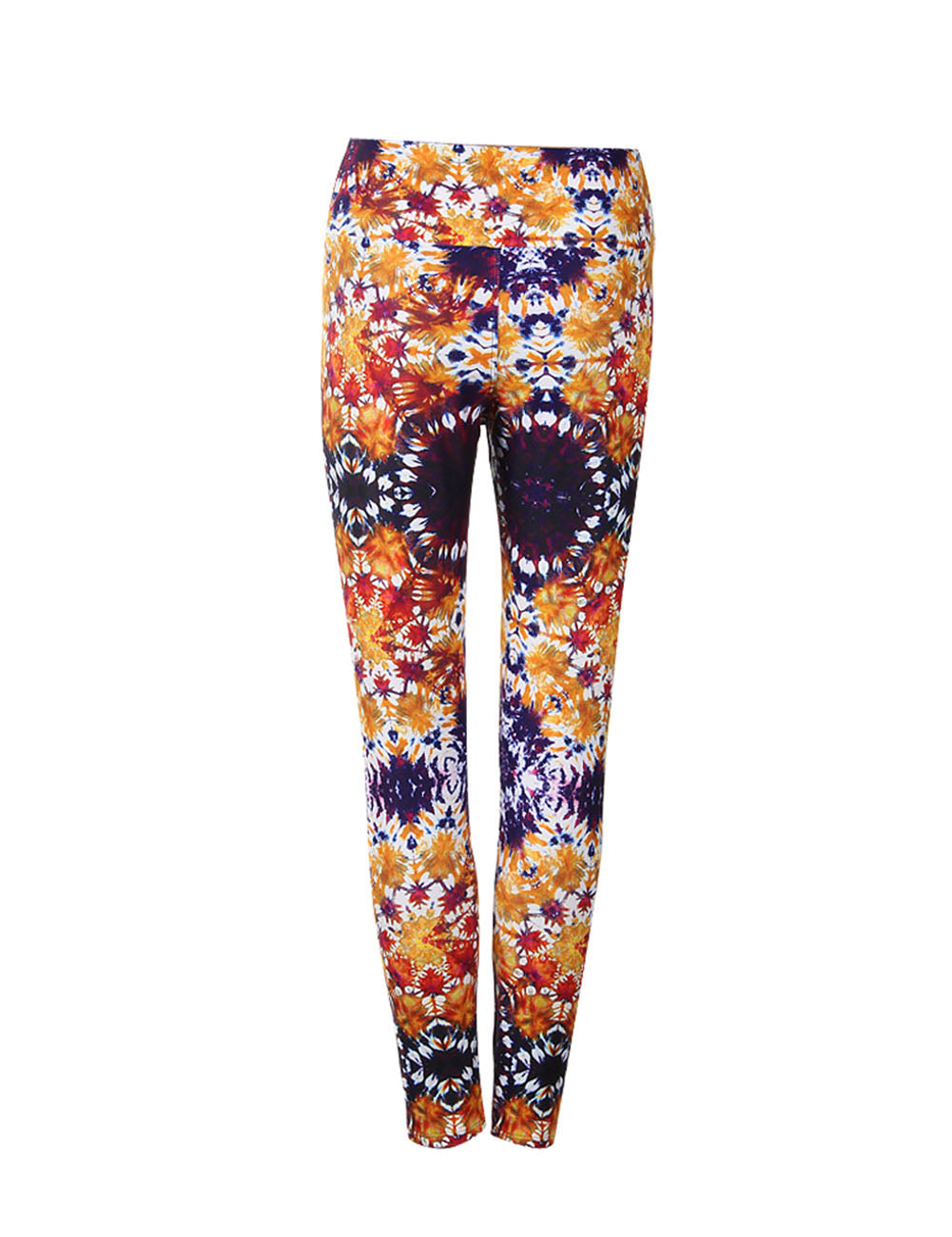 Incredible Abstract Print Stretch Leggings Flat Waist Leisure Wear