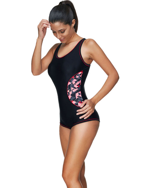 Incredibly Print Boyshort Black Racerback Swimsuit Plus For Street Snap