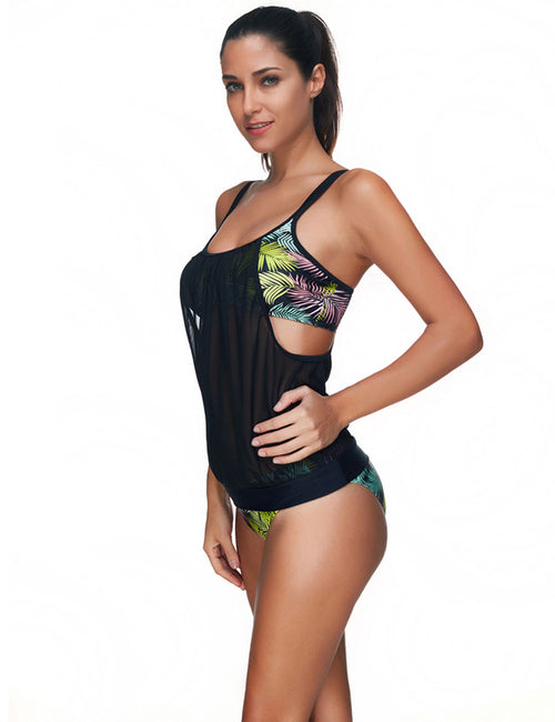 Ingenious Attached Mesh 2 Piece Swimsuit Plus Size Delightful Garment