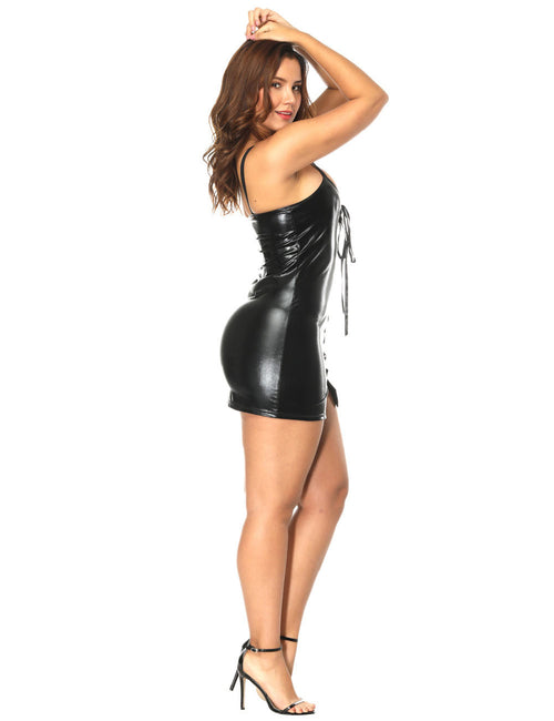 Intimate Cross Straps Closure Leather Dress Square Back Dissolute Midnight