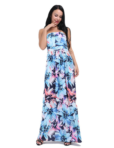 Intrigued Allover Flower Strapless Bandeau Maxi Dress Female Elegance
