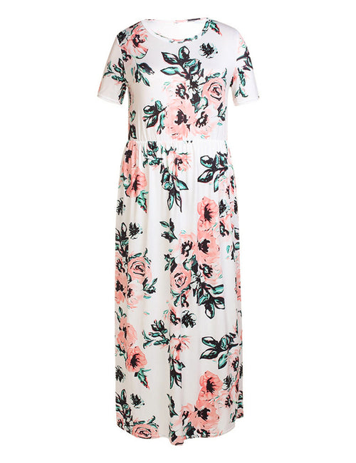 Intrigued Flower Pattern Large Maxi Dress Short Sleeves Female Fashion