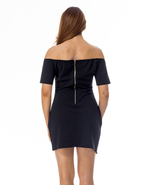 Intriguing Short Sleeve Slash Neck Dress Ruched Side For Female
