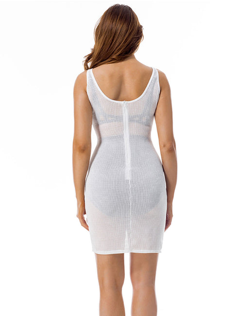 Irresistible Translucent Zipper Closure Net Dress Sleeveless For Streetshots