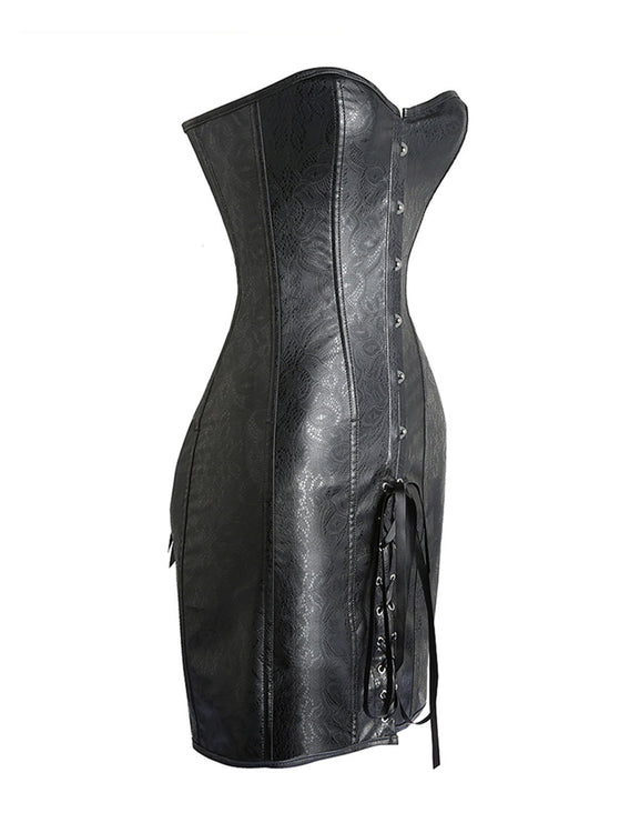 Jacquard Leather Corset Dress Hourglass Shape Lace-Up Instant-Slimmer