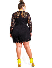Plus Size Lace Long Sleeves Short Jumpsuit
