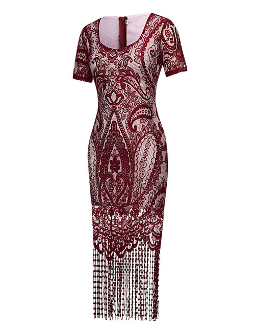 Kinetic Tassels Midi Bodycon Lace Dress Zipper Back Glamor