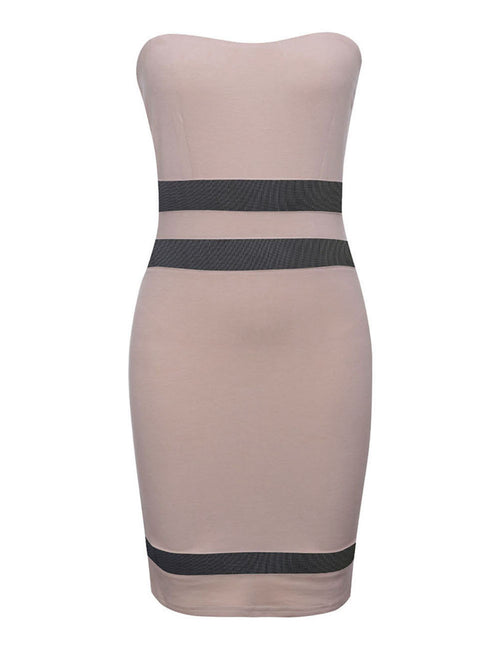 Laid-Back Boob Tube Empire Waist Bodycon Dress Mesh Patchwork Women's Fashion