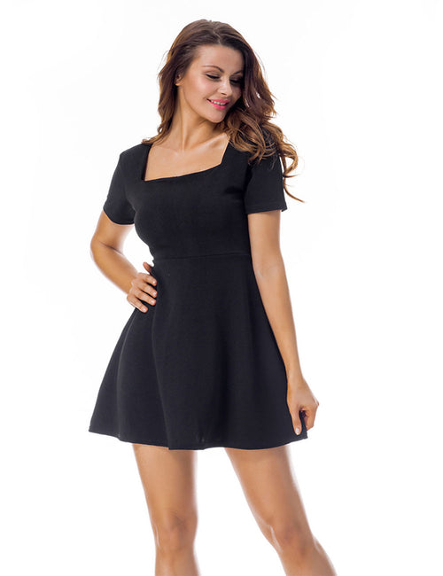 Laid-Back Short Sleeve Flared Square Neck Skater Dress Womenswear
