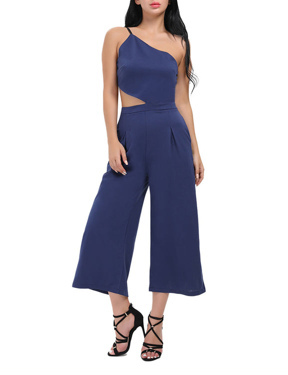 Leisure Side Cutout One Shoulder Jumpsuits Sleeveless Feminine Confidence