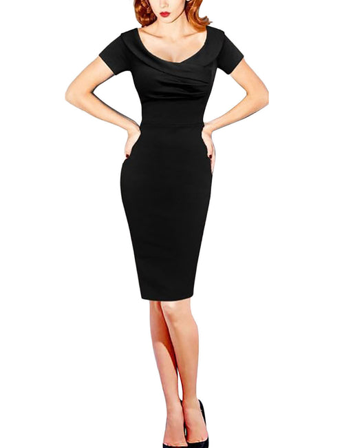 Liberty Cross Front Midi Tight Dress Short Sleeves Preventing Sweat