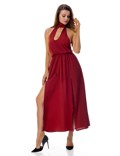 Lightweight Ruched Waist Long Halter Slit Dress Sleeveless Outdoor