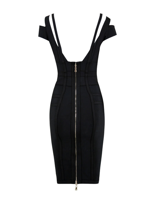 Lightweight Sweetheart Neck Bodycon Dress Cold Shoulder Simplicity