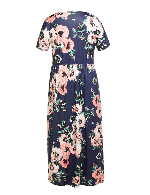 Loose Fit Round Neck Maxi Big Dress Flower Printing Comfort