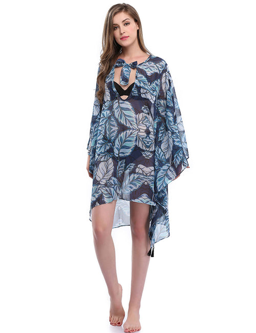 Lovable Bow Tie Leaf Print Bikini Beach Cover Up Ultra Sexy