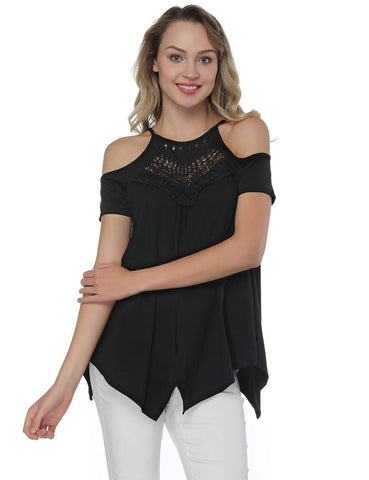 Lovable Cold Shoulder Asymmetric Pleated Blouse Online Fashion