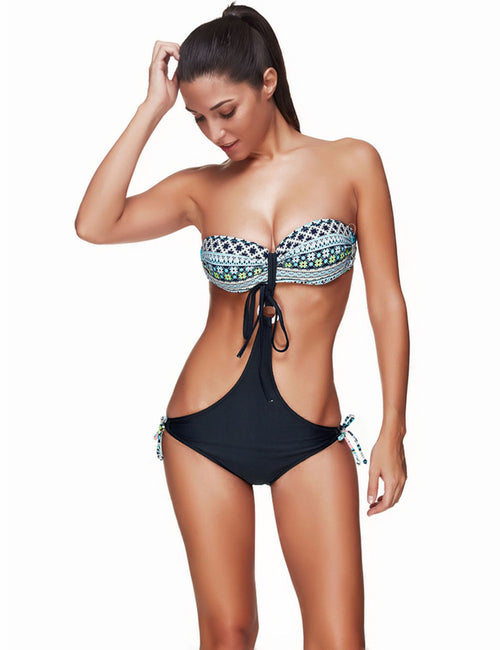 Lovable Cut Out Plus Size Strapless Swimsuit Front Ring Lady Swimwear