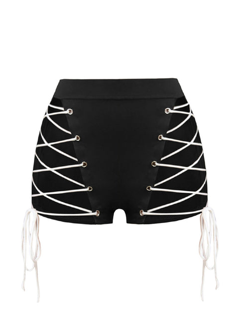 Lovable Eyelet Shorts Side Cut Criss-Cross Straps Women's Fashion