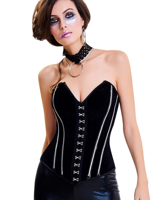 Lovely 14 Plastic Bones Strapless Overbust Corset Lace-Up Close Fitting