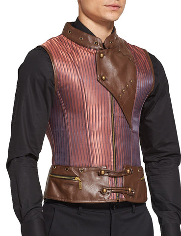 Lovely Stripe Pattern Victorian Men Corset Vest 8 Steel Boned Lace-Up Back Body-Hugging