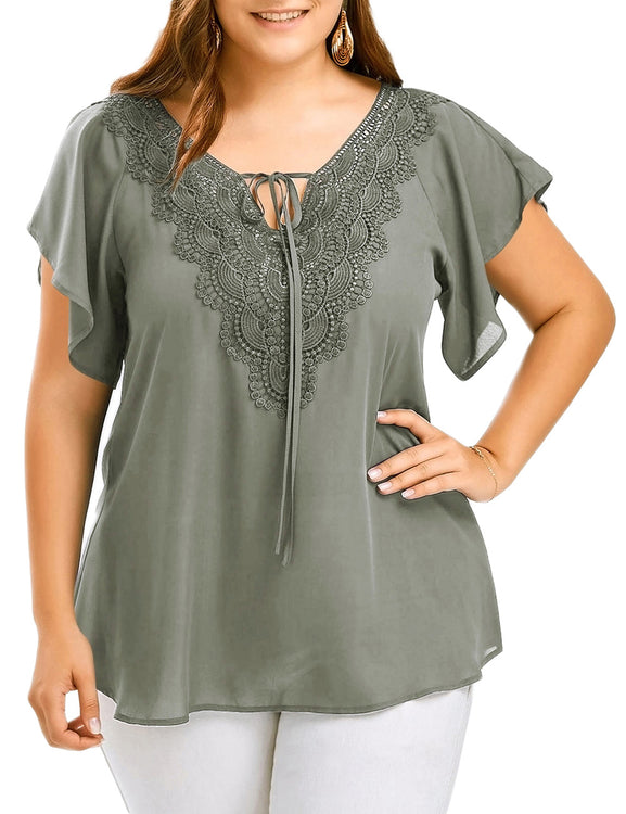 Luscious Curvy Large Flounce Short Sleeves Tees Floral Lace Patchwork Ultra Hot