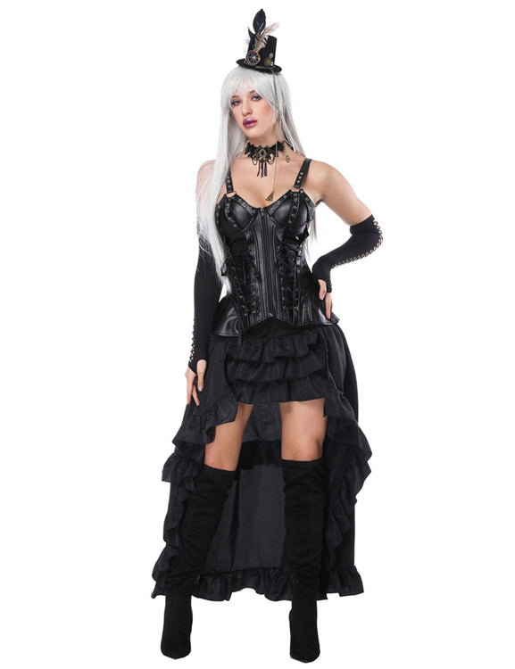 Luxury Thick Straps Mental Hole Corset And Layered Skirt Bandage