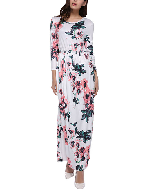 Marvellous Floral Print Full Sleeve Maxi Dress O-Neck All Over Smooth