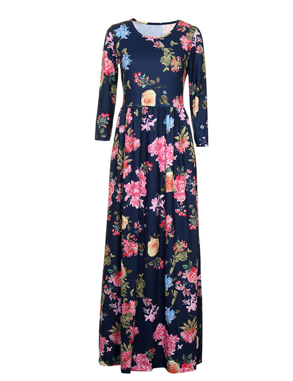 Marvellous Ruffle Flower Pattern Long Dress Three Quarters Sleeve Comfort Fashion