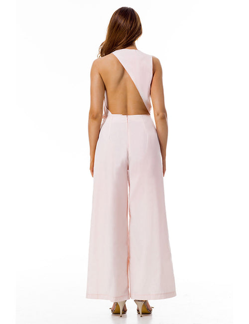 Modern Exposed Back Deep V Neckline Wide Leg Jumpsuit Ruched Loose Fit