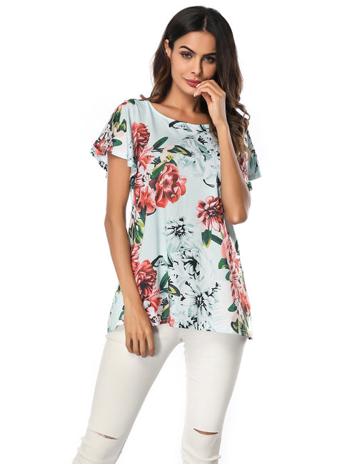 Modern Ladies Flower Pattern Shirts Knot Back For Stunner