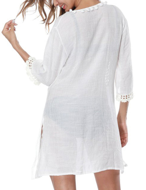 Modest Beach Plunge Neck Knit Cover Ups Side Split Women's Apparel