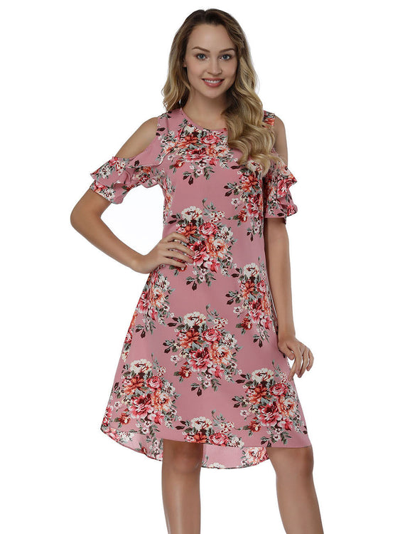 Naughty Cold Shoulder Print Mini Dresses Natural Waist For Women Online