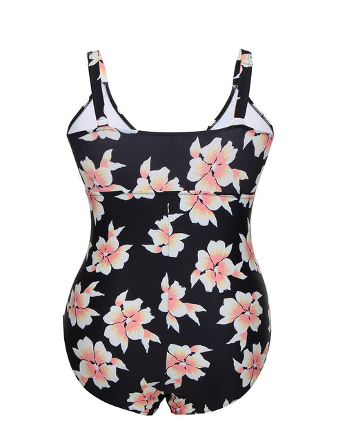Naughty Cut Out Printed Front Large Bathing Suit Women