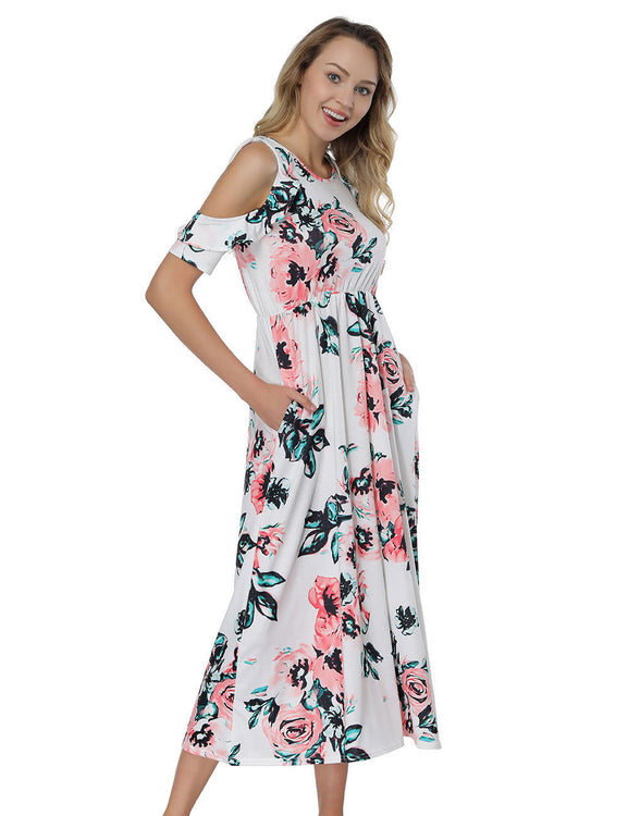 Naughty Floral Print Midi Dresses Cold Shoulder Fashion Online