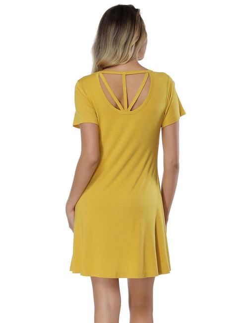 Noble Bamboo Cut Out Dress Mini Length Sensual Curves