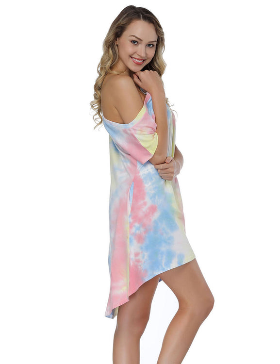 Noble Colorful Tie Dye Mini Dress Asymmetrical Hem For Ladies