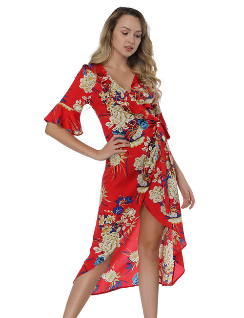 Noble Print Wrap Dress With Flounce Sleeve Fashion For Women