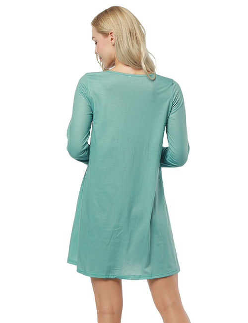 Noble Round Neck Dress Long Sleeve Seamless