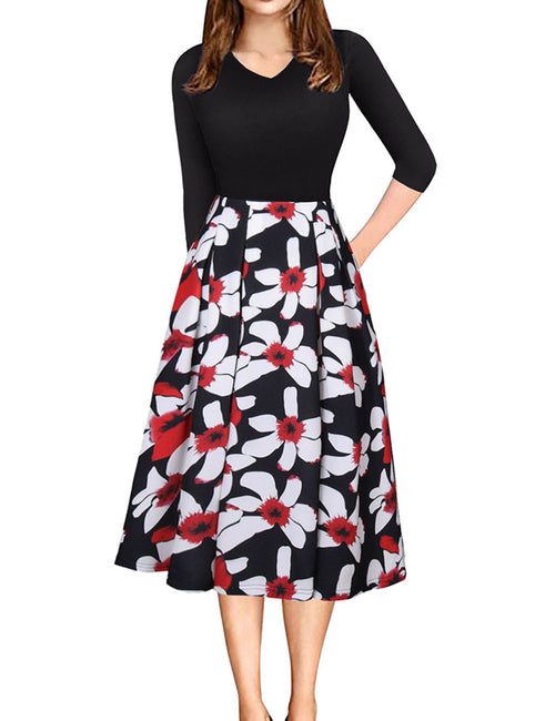 Noticeable Patchwork Floral Printed Skater Dress 3/4 Sleeves Super Faddish