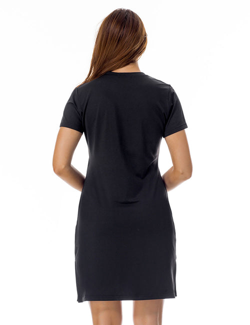 Noticeable Short Sleeve Letter Round Neck Dress Side Slit Female Elegance
