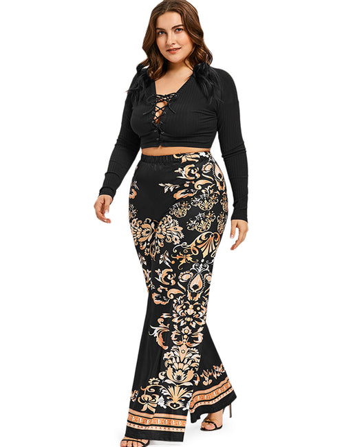 Baroque Print Overlength High Elastic Waist Wide Leg Pants