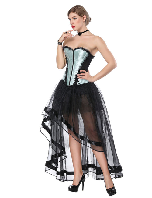 Particularly Lace Corset And Mesh Skirt Irregular Hem Delightful Garment