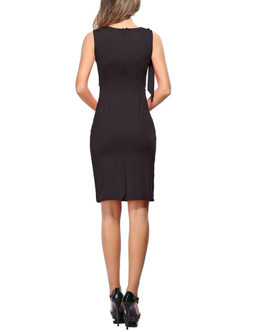 Particularly Plus V Neck Bodycon Dress Ruched Waist Glamor Women