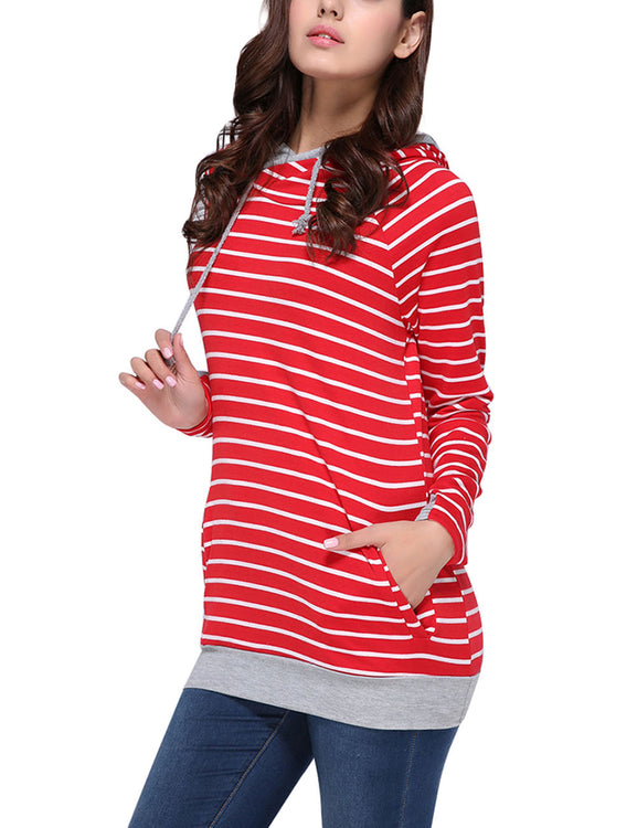 Perfectly Striped Sweatshirt With Drawcord Feminine Grace
