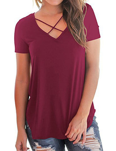 Perfectly Symmetrical Trim Tops Split Crossover V Neck Ultimate Comfort