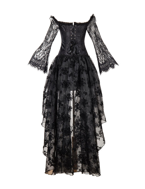 Perforated Floral Lace Mesh Corset Sets Full Sleeve For Street Snap