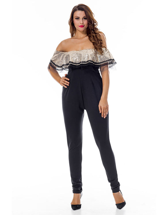 Performance Long Bardot Jumpsuit Decorate With Beads Breath