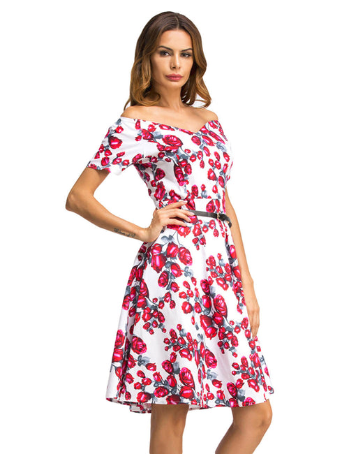 Pleasurable Flared Print Dress Strapless Short Sleeve Glamor